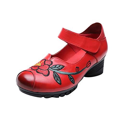Mitlfuny Damen Sommer Sandalen Bohemian Flach Sandaletten Sommer Strand Schuhe,Neu Gestickte handgefertigte, weichbesohlte, rutschfeste Damenschuhe mit mittlerem Absatz -