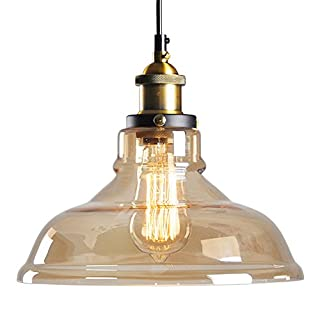 Awhao Pendant Light Glass Shade Vintage Industrial E27 Ceiling Light Metal Shade Lounge Home Decorative Lighting