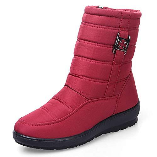KUKI Schnee Stiefel Frauen Winter Stiefel Mutter Schuhe Rutschfeste Wasserdichte Flexible Damenmode Lässige Stiefel Große Größe Warme Baumwoll Stiefel,Red,40EU