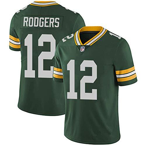 TOPSTEE Camiseta de fútbol Americano #12 Aaron Rodgers Green Bay Packers para Hombre, Camiseta de fútbol...