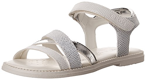 Geox j karly d, sandali punta aperta bambina, bianco (white), 32 eu