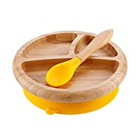 Augproveshak Baby Suction Bowl and Spoon Set, Suction Stay Put Baby Feeding Bowl Plate Set, Made of Natural Bamboo