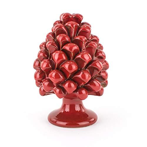 Pigna Rouge en faïence Artistique de Caltagirone Faite à la Main, Cadeau de Noël