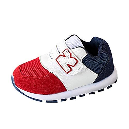 GongzhuMM Coloblock Lettre Baskets Basses Mixte Enfant Fille Garcon Mode Chaussures Bebe Maille Respirant Sneakers Premier Pas Bébé 1 Ans-6 Ans