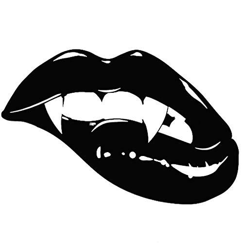 18X11.8CM Sharp Monster Mouth Kiss Vampire Lips Teeth Vinyl Decal Car Sticker Black/White (Lip Scrub Kiss)