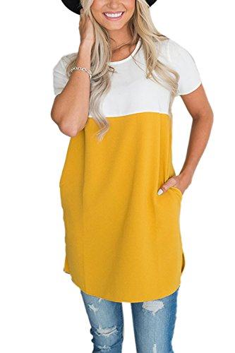YACUN Le Donne L'Estate A Maniche Corte Camicia Camicetta Casual Magliette al Massimo Yellow
