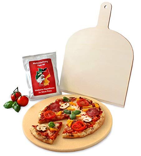 Runde Backstein-set (Vesuvo V32001 Pizzastein- / Brotbackbackstein Set für Backofen und Grill / rund 32cm / mit Pizzaschaufel und Pizzamehl)