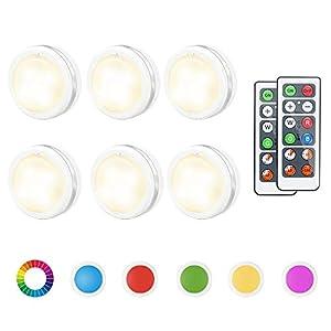 Schrankleuchten Led Schrankbeleuchtung RGB 6er Nachtlicht mit Fernbedienung Treppen Licht Unterbauleuchte Batteriebetrieben Schrank Lichter für Schlafzimmer, Kleiderschrank, Kabinett, Küche (Farbe)