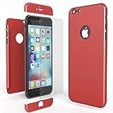 NALIA 360 Grad Handyhülle für Apple iPhone 6 / 6s, Full-Cover & Glas vorne hinten Rundum Hülle Doppel-Schutz Dünn Ganzkörper Hard-Case Etui Handy-Tasche Bumper & Displayschutz, Farbe:Rot
