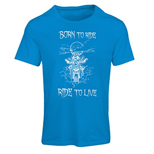 Frauen T-Shirt Born To Ride! motorcycle clothing (Large Blau Mehrfarben)