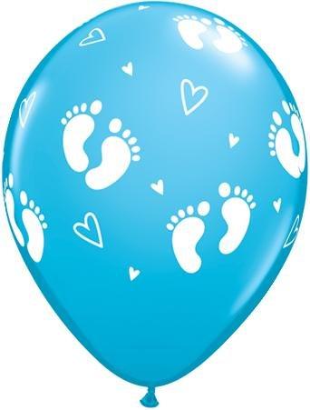 Qualatex 45652 Ballon bedruckt mit runden Baby-Fußabdrücken und Herzen, Einzelhandel, 27,9cm, 6 Stück