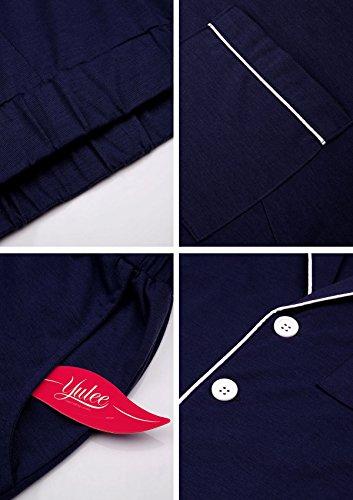 Yulee Damen Schlafanzug Gesäumtes Pyjama Classics Nachthemd und Hose Set in europäischen Größen Blauschwarz