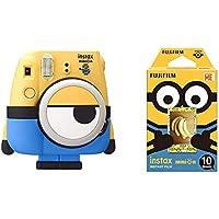 Fujifilm Instax Mini Minions Fotocamera Istantanea, Formato 62x46 mm, Giallo con Custodia Blu + Mini Minions Pellicola Istantanea, 10 Pose, Bianco