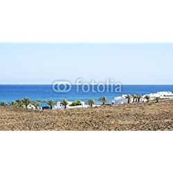 """Alu-Dibond-Bild 120 x 60 cm: """"Panorámica de la Costa Teguise, Lanzarote Islas Canarias"""", Bild auf Alu-Dibond"""