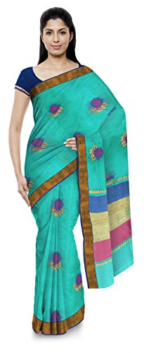 Kota Doria Sarees Handloom Women's Kota Doria Handloom Cotton Silk Saree With Blouse Piece (Blue)