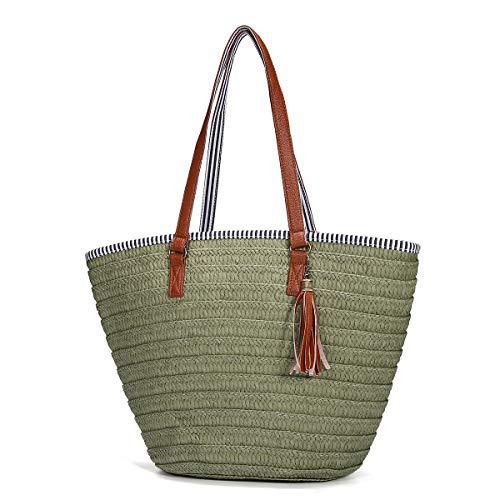 Stroh Strand Tasche, JOSEKO Sommer Handtaschen Schulter Tasche Tote mit Leder Griffe Quasten Frau Tasche Grün -