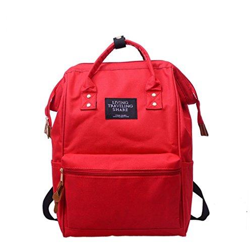 VJGOAL Damen Rucksack, Mädchen Herren Unisex Solide Rucksack Schule Reisetasche Doppel Umhängetasche Reißverschlusstasche (24 * 19 * 39cm, Rot) -