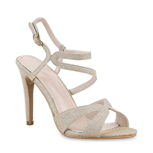 Damen Sandaletten Strass High Heels Party Schuhe Metallic Glitze Brautschuhe Abschlussball Hochzeit Gold Glitzer