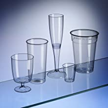 Avenue's Disposable Glasses Party Box Set 180 Piece. Pints (50) Softdrinks, Long Drinks, half pints (30), Wine (30), Champagne (20) and Shots (50)
