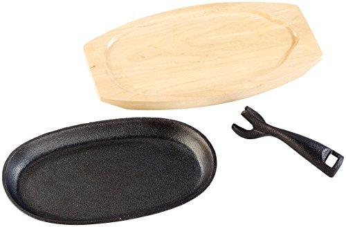 Tornwald-Schmiede Tisch Guss Grillpfanne: Profi Servierpfanne aus Gusseisen mit Untersetzer, 28x18x2 cm, 1460 g (Gusseiserne Servierpfanne)