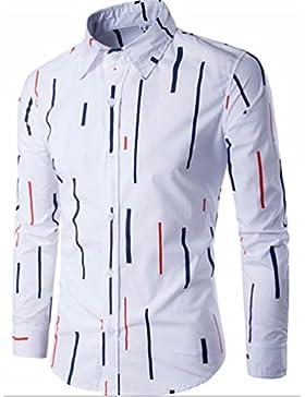Camiseta Camiseta de rayas rayas irregularmente Hombres camiseta de manga larga.