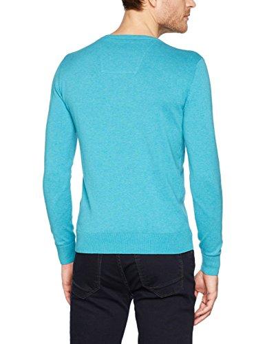 TOM TAILOR Herren Pullover Basic V-Neck Sweater Grün (Mint Ice Melange 7847)