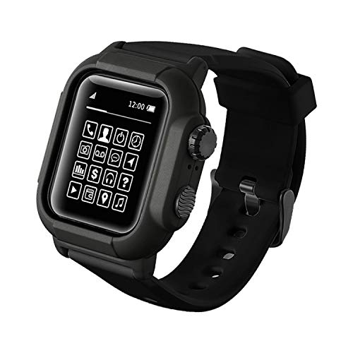Qianyou Kompatibel mit Apple Watch 42mm Series 3/2/1 Armband Wasserdicht mit Hülle, [IP68] Ersatzband Schutzhülle Integrated PC+TPU Sport Vollschutz Uhrenarmband für Schwimmen Tauchen, Schwarz