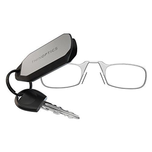 ThinOptics Las gafas de lectura con el llavero, Graduación de 2,50 dioptrías, Montura transparente