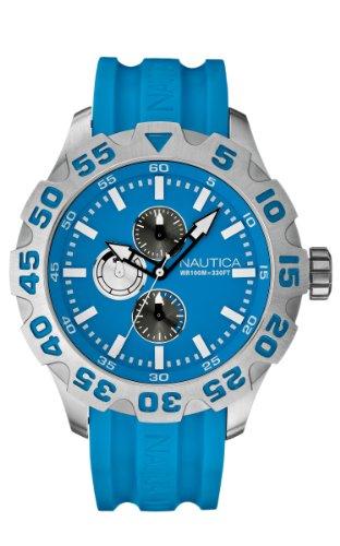 Nautica-A15579G Men's Watch Analogue Quartz Strap Blue Dial Silicone Blue