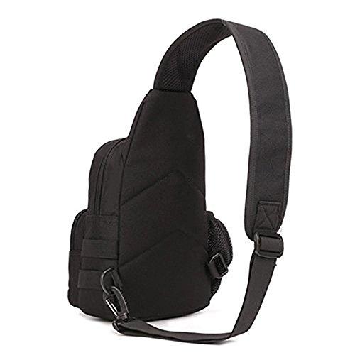 SUNVP Tactical Military Chest Sling Pack Tasche Molle Cross Body Schulter Sling Bag Single Strap Rucksack mit Wasser Flasche Halter für Outdoor Jagd Camping W Black