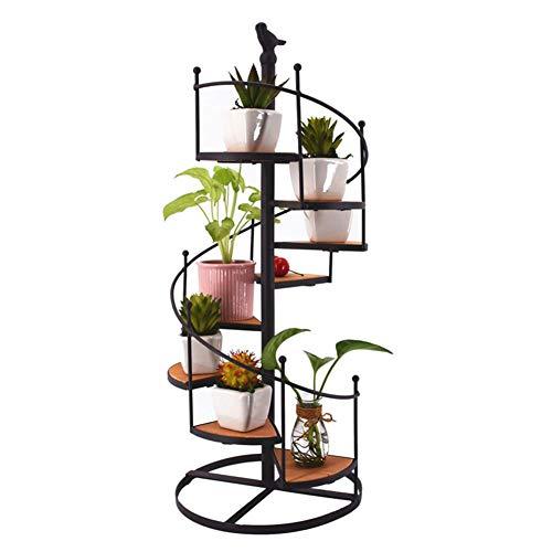 Estante para macetas de hierro forjado en espiral, soporte para exhibición de escaleras, macetas decorativas, soporte para macetas de escritorio europeo Retro para el hogar, estante de jardín, expositor de plantas, 8 niveles, 57 cm
