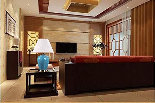andgemachtes Elegantes blaues keramisches Gewebe führte Tischlampe E27 für Hochzeits-Dekor-Wohnzimmer-Schlafzimmer H 60cm Wechselstrom 80-265V ()