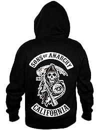 Sons of Anarchy Sweat à capuche et à fermeture éclair pour homme  représentant ... 53b24cd2e8ce