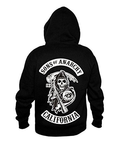 Fermeture éclair Sons of Anarchy Redwood original hommes de Mayhem Reaper qualité fermeture éclair zippée à capuche à capuche pour homme Taille (S-5X L) S à XXXXXL petit