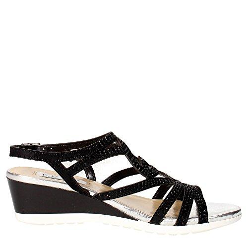 TOUCHES 5436 taupe chaussures bracelet femme sandale zeppetta strass Noir