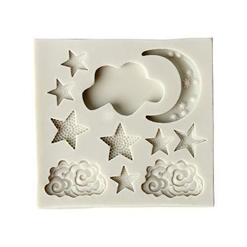 Depory Molde de silicona para decoración de tartas, diseño de luna, estrellas, nubes, molde cortador de azúcar, chocolate, fondant, molde de cocina, utensilios para hornear (blanco)