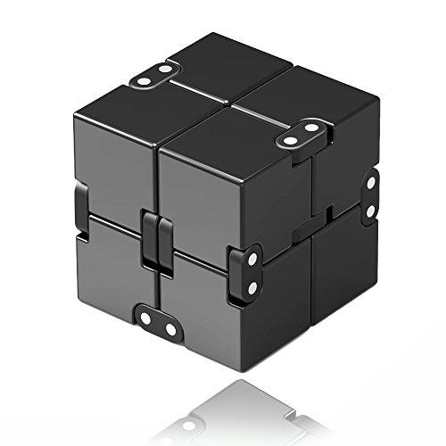 Rhybom Infinity Cube, Décompression Jouet Cube de l'infini, Stress de Jouet de Doigt de Fidget et soulagement d'inquiétude, tuant Le Temps Fidget Joue Le Cube Infini (Noir)