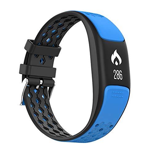 GLDMT P8 Smart Sportarmband, Herzfrequenzmessschritt Bluetooth Mehrere Sportarten, GPS Wasserdichtes Multifunktionsarmband, Unisex,Blue