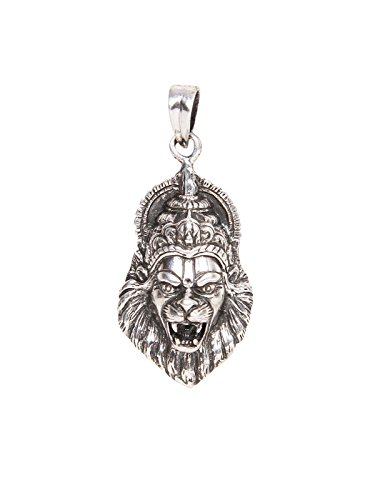 Silverwala 925 Sterling Silver Laxmi Narasimha Swamy oxidised Pendant for Men and Women