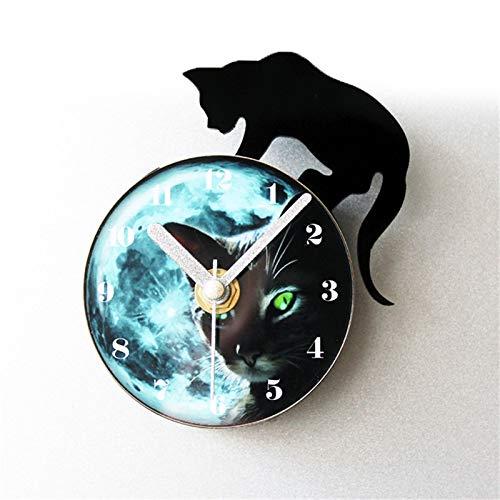 QXbecky Moda Creativa Noche Elf Gatito Reloj refrigerador Gato Negro refrigerador Pegatinas magnético Mensaje Pegatinas refrigerador Reloj de Pared
