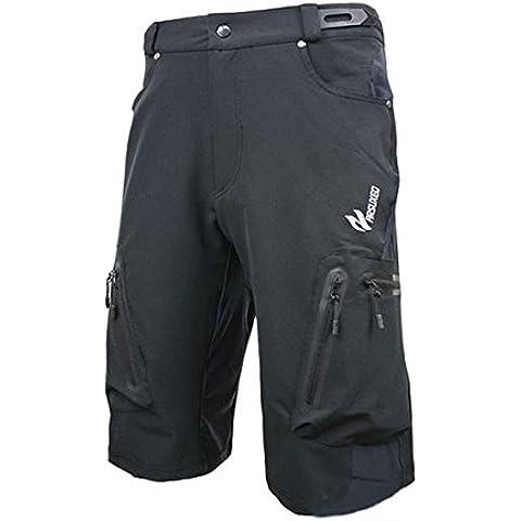 MaMaison007 ARSUXEO hombres deportes pantalones de ciclismo ropa bici bicicleta Shorts - negro -L