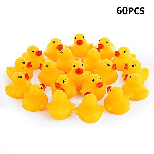 Stockton 60 Stck Enten Baby Dusche Spielzeug Gelb Entchen Gummi-Ente,Squeeze Wird Klingen