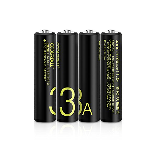 Rechargeable Akku Batterien,Coolreall 4-er Pack Vorgeladener AAA Ni-Mh Akku (1100 mAh,1.2V) inkl Akku Aufbewahrungsbox