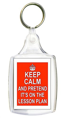 Keep Calm And Pretend It's On The Lesson Plan Red Keyring Gift Present Teacher