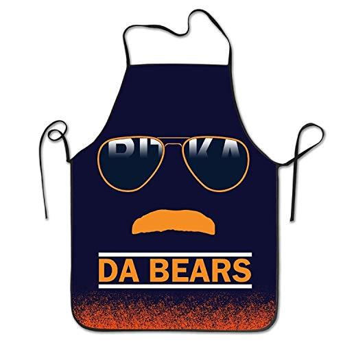 fghjdfcnfd Da Bears Chicago Windy City Mustache Glasses Kitchen Apron, 52 cm X 72 cm (Chicago Bears-puppe)
