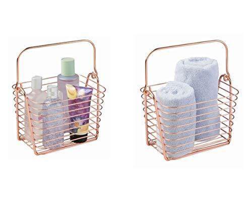 iDesign Classico Aufbewahrungskorb, kleiner Drahtkorb aus Metall mit Henkel für Badzubehör oder Spielzeug, kupferfarben