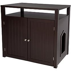 Carcasa con caja de arena para gatos de Arf Pets, casa grande conforma de mueble y mesa auxiliar