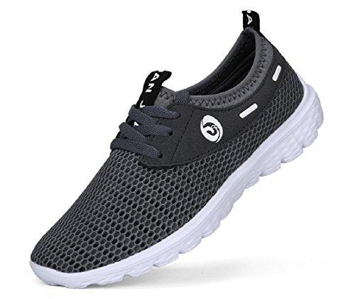 JUAN Herren Leichte Fashion Mesh Sneakers Atmungsaktiv Athletic Outdoor Casual Sports Laufschuhe, Grau - Grau - Größe: 41 (Wander-sandalen Sportliche)