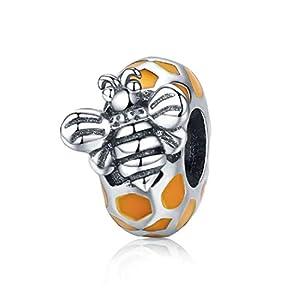 FeatherWish Abstandhalter für Pandora-Armband, Honigbiene und Wabenwaben, 925 Sterlingsilber, passend für Pandora-Armband