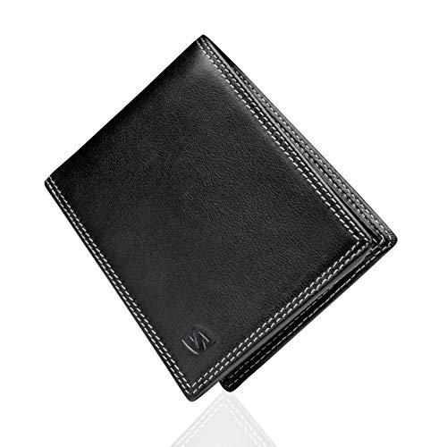 6148b540b Negro/Blanco Carteras de Hombre con Protección RFID y Caja de Regalo  Billeteras Cuero Billetero